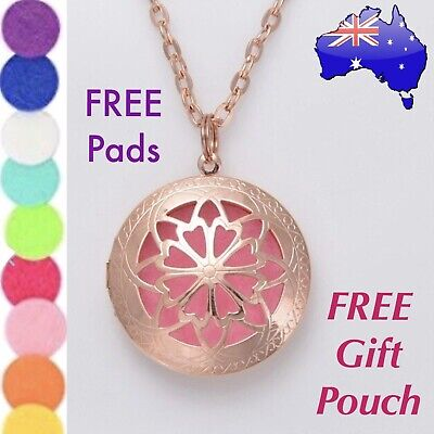 AU9.50 • Buy Rose Gold Mandala Aromatherapy Essential Oil Diffuser Locket Pendant Necklace