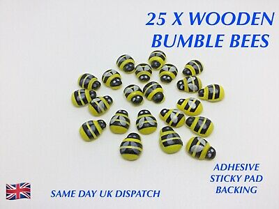 25 X Wooden Bumble Bee Embellishments Crafts Card Making Decoration Adhesive Pad • 2.49£