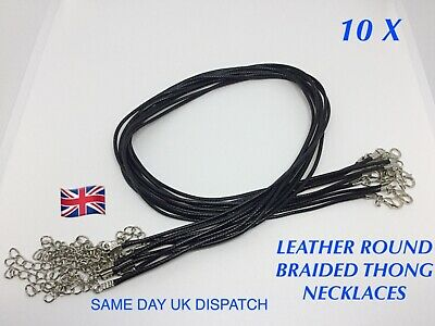 £2.99 • Buy 10 X Leather Waxed Round Braided Thong Necklace Cords Lobster Clasp Jewellery