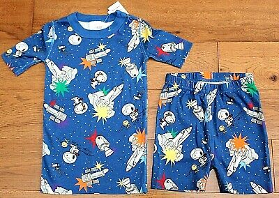 $19.95 • Buy NEW Hanna Andersson SNOOPY OUTER SPACE PAJAMAS Sz 5 110 Boys Blue Short John PJs