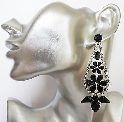£8 • Buy Diamante Teardrop Earrings With Jet Black Diamante And Clear Crystals