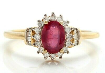 £354.20 • Buy 1.50 Carat Natural Red Ruby And Diamonds In 10K Solid Yellow Gold Ring