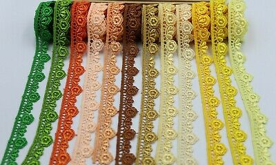 2 M Beautiful Daisy Fine Flower Edge Lace Trim Colours Guipure For Sewing,Embesh • 3.39£