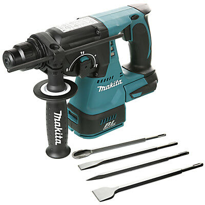 Makita DHR242 18V Brushless SDS+ Rotary Hammer Drill With 4 Piece SDS Chisel Set • 169.90£