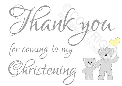 £0.99 • Buy 1-100 Pack Thank You For Coming To My Christening Cards Favours Boys Girls Teddy