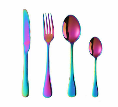 £5.22 • Buy Rainbow Cutlery Sets Stainless Steel Colorful Iridescent Forks 4 Piece/Set