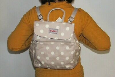 Cath Kidston Oilcloth Handbag Backpack Button Spot Fawn Colour New With Tag • 37£