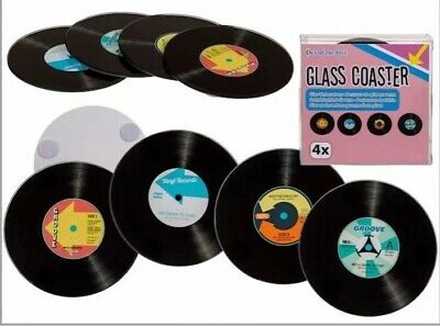 Retro Vinyl Records Dj Set Of 4 Glass Drinks Table Coasters Mats • 6.99£