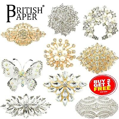 £3.39 • Buy New Large Diamante Crystal Pins Back Brooch Vintage Rose Gold Spider Lot Bouquet