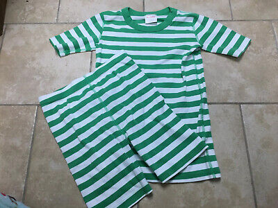 $11.10 • Buy HANNA ANDERSSON  Green Striped Organic Short Pajamas, Size 160 (14)