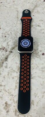 $ CDN208.67 • Buy Apple Watch Series 3 38mm Silver Aluminum Case Black/Red Sport Band EXCELLENT