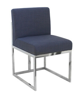 AU335 • Buy Modern Dining Chair Navy Blue Fabric With Metal Legs 48x56x81cmh
