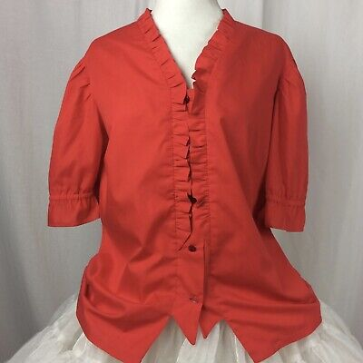 $24.74 • Buy Square Dance Blouse Red Button-down Ruffle Homemade See Measurements