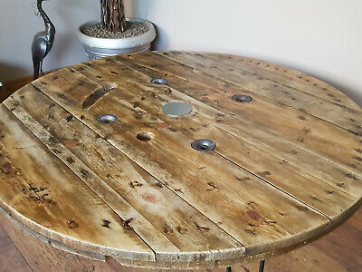 XXL Large Industrial Wooden Cable Reel Drum Round Coffee Table  • 190£