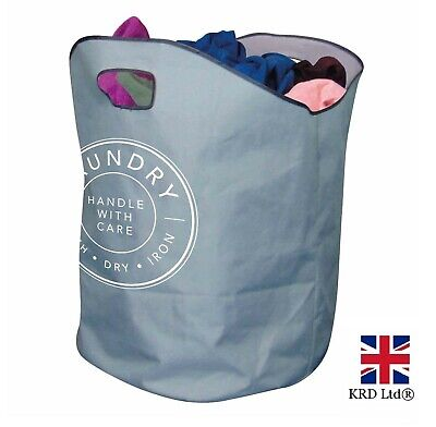 XL LAUNDRY BAG Basket Handles Foldable Washing Sack Clothes Storage Bin 317265UK • 5.25£