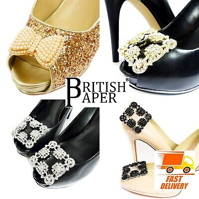 £3.05 • Buy Decorative Diamante Shoe Clips Gold Black Pairs Bows Pearl Flower Silver Buckles