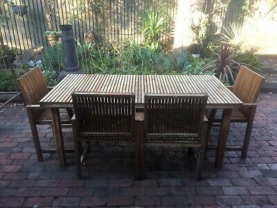 AU104.50 • Buy Coco Republic Wooden Outdoor Setting. Table And 4 Chairs