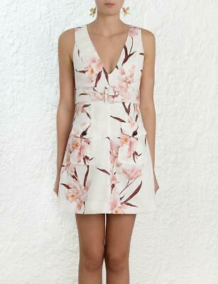 $295 • Buy NWT Zimmermann Ivory/Peach Orchid Corsage Safari Dress Size 0/US 4 $595