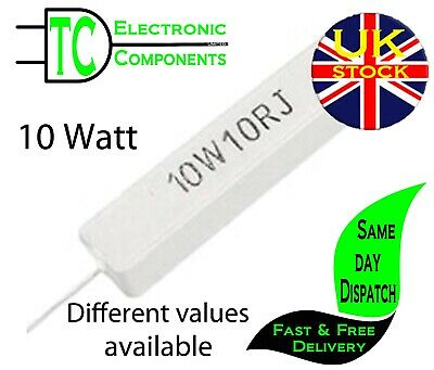 $2.59 • Buy 10 Watt Wire Wound Cement Resistors  Different Values Available **UK Seller**