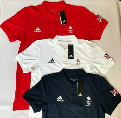 £24 • Buy Official Olympic Polo Shirt Adidas Team GB Red Blue White Mens Womens Latest Kit