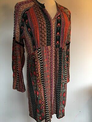 AU20 • Buy Tigerlily Colourful Boho Button Up Smock Top Size 12