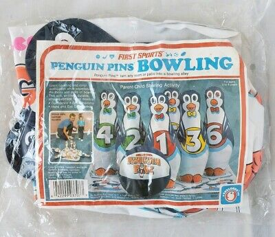 $39.99 • Buy Vintage Inflatable Penguin Pins Bowling Set First Sports 1986 NOS 6 Pins & Ball