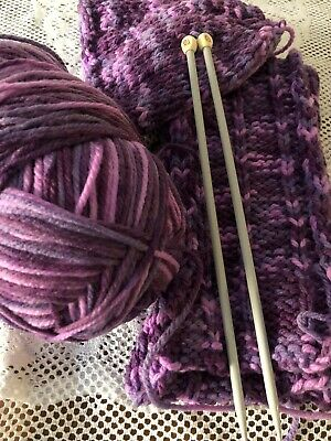 AU3 • Buy Knitting Yarn Left Over Project Beanie Scarf & Knitting Needles 6.50mm