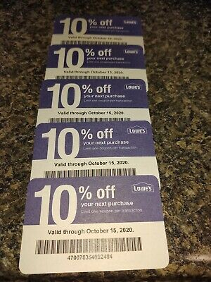 $15.99 • Buy (5) Lowe's 10% Off Coupons Good For Competitors Home Depot Expire Oct 15th, 2020