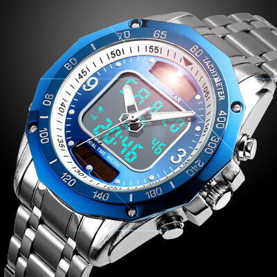 $ CDN16.53 • Buy Solar Powered Mens Watches Steel Waterproof Analog&Digital Sport Watch