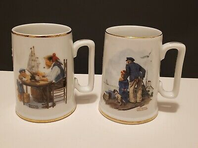 $ CDN14.27 • Buy Vintage 1985 The Norman Rockwell Museum Mugs Set Of 2 Coffee Cups Euc