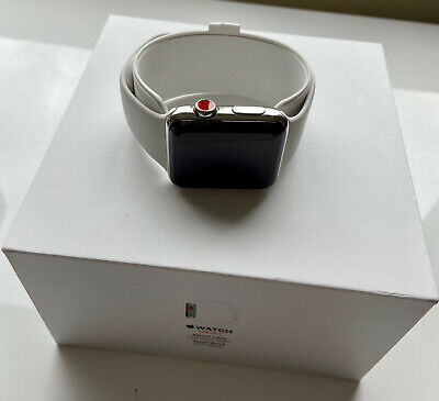 $ CDN276.07 • Buy Apple Watch Series 3 42mm Stainless Steel Case With White Band GPS + Cellular