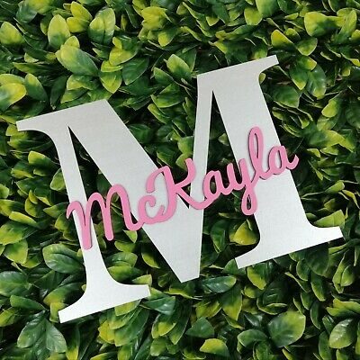 Personalised Painted Wooden Letter With Script Name - ANY COLOUR - Name Sign  • 18.99£