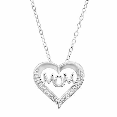 View Details 'Mom' Open Heart Pendant With Diamonds In Sterling Silver, 18  • 28.19$
