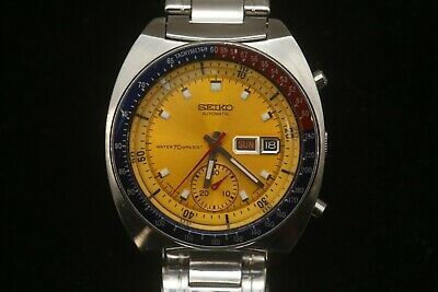 $ CDN541.61 • Buy Vintage 1981 Seiko 6139-6005 Pogue Pepsi Bezel Gold Dial Chronograph Watch