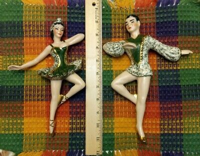 $45 • Buy Vintage MCM Ceramic Arts Studio Greg & Grace Ballet Wall Decor Green And Gilt