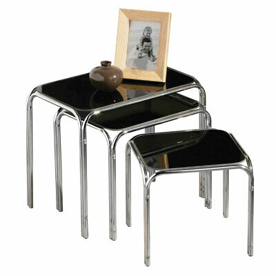 Premier Nest Of 3 Tables Black Glass Top Chrome Finish Legs Modern Design • 51.99£