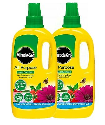 £12.99 • Buy 2 X MIRACLE-GRO GROW ALL PURPOSE LIQUID PLANT FOOD FEED CONCENTRATED FERTILISER