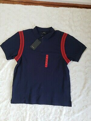 $22.99 • Buy NWT ZARA Man Blue Red Casual Polo Shirt Top Zip Front Short Sleeve Mens Size XL
