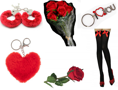 HEN STAG ROMANTIC EROTIC GIFTS IDEAS HER & HIS LOVE HEART Rose Bud RED Cuffs UK • 3.99£