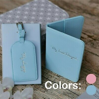 AU26.95 • Buy Baby's First Travel Kit Pink/Blue  Adorable Passaport Holder / Luggage Tag Set