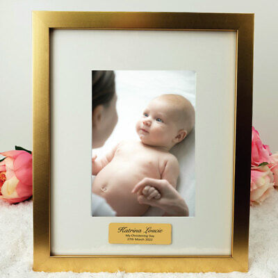 AU53 • Buy Christening Gold 5x7 Photo Frame With Personalised Message | Gift Christening...