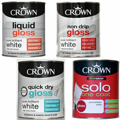 Crown Liquid/Non Drip/Solo 1 Coat/Quick Dry Gloss Pure Brilliant White Paint 750 • 11.99£