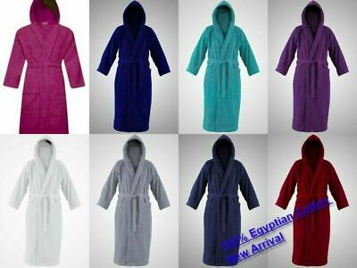 £14.90 • Buy Unisex Hooded Bathrobes Terry Toweling Dressing Gown 100% Egyptian Cotton