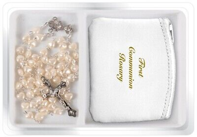 Girl's First Holy Communion Gift Plastic Pearlised Rosary & Leather Purse  • 7.35£