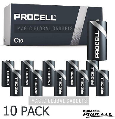 10 X Duracell C Size Procell Alkaline Batteries Lr14 Mn1400 Replaces Industrial  • 9.99£