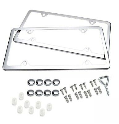 $8.50 • Buy 2X Chrome Stainless Steel Metal License Plate Frame Tag Cover W/Screw Cap Silver