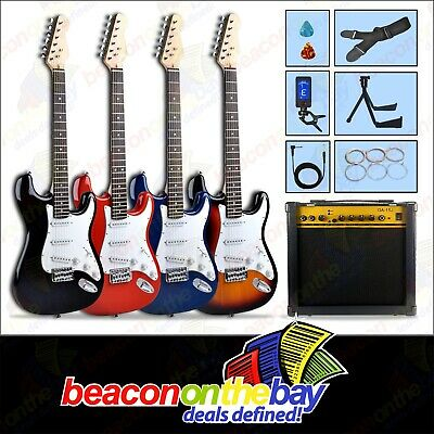 AU169.99 • Buy Electric Guitar & Amplifier Stand Cable Tuner Strap Strings Pics 4 Colour Set