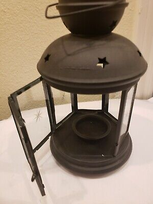 $4.99 • Buy IKEA Rotera Tealight Candle Holder Black Lantern Metal Star Glass Yard Home Deck