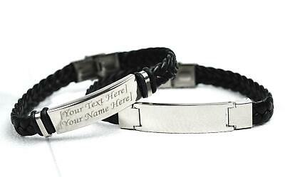 Personalised Faux Leather Bracelet Engraved Gift Jewellery Black Stainless Steel • 8.99£