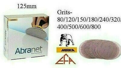 Mirka Abranet 125mm Sanding Discs - Packs 5 Or 10 - All Grits From P80 To P1000 • 5.49£